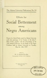 """Cover of """"Efforts for social betterment among Negro Americans"""""""