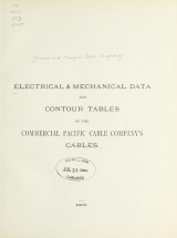 Cover of Electrical & mechanical data and contour tables of the Commercial Pacific Cable Company's cables