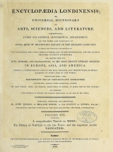 Cover of Encyclopaedia londinensis, or, Universal dictionary of arts, sciences, and literature v.16 (1819)