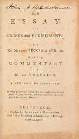 Cover of An essay on crimes and punishments