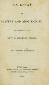 Cover of An essay on slavery and abolitionism