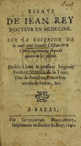 Cover of Essays de Iean Rey, docteur en medecine