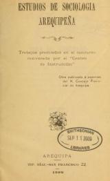 Cover of Estudios de sociología arequipeña