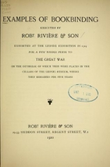 Cover of Examples of bookbinding executed by Robt. Rivière & Son