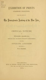 Cover of Exhibition of prints (Claghorn Collection) under the auspices of the Philadelphia Academy of the Fine Arts
