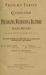 Cover of Freight tariff and classification...to take effect October 25th, 1877