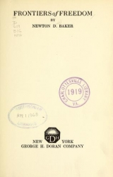 Cover of Frontiers of freedom