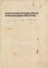 Cover of Guido Bonatus de Forlinio decem continens tractatus astronomie