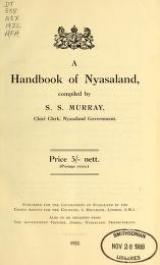 Cover of A handbook of Nyasaland