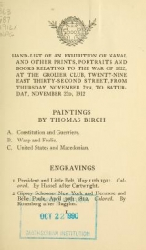 Cover of Hand-list of an exhibition of naval and other prints, portraits and books relating to the war of 1812, ... November 7th to ... 23d, 1912