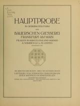 Cover of Hauptprobe in gedrängter form der Bauerschen Giesserei, Frankfurt am Main- Filialen in Barcelona und Madrid, A. Numrich & Co. in Leipzig