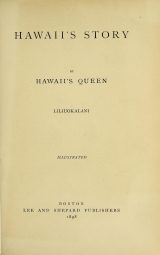Cover of Hawaii's story by Hawaii's queen, Liliuokalani