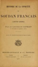 Cover of Histoire de la conquête du Soudan français (1878-1899)