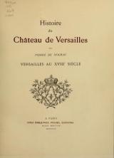 Cover of Histoire du Château de Versailles