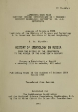 Cover of History of embryology in Russia from the middle of the eighteenth to the middle of the nineteenth century