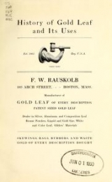 """Cover of """"History of gold leaf and its uses"""""""