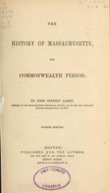 Cover of The history of Massachusetts