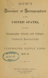 """Cover of """"How's directory of stenographers of the United States"""""""