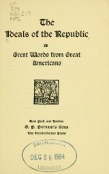 Cover of The Ideals of the republic