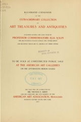 """Cover of """"Illustrated catalogue of the extraordinary collection of art treasures and antiquities acquired during the past year by Professore Commendatore Elia Volpi"""""""