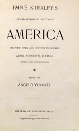 Cover of Imre Kiralfy's grand historical spectacle, America