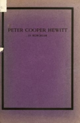 Cover of In memoriam of Peter Cooper Hewitt