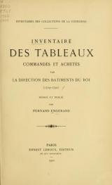 Cover of Inventaire des tableaux commandés et achetés par la Direction des batiments du roi (1709-1792)