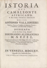 Cover of Istoria del camaleonte affricano, e di varj animali d'Italia