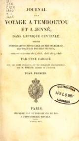 Cover of Journal d'un voyage à Temboctou et à Jenné, dans l'Afrique Centrale, précédé d'observations faites chez les Maures Braknas, les Nalous et d'autr