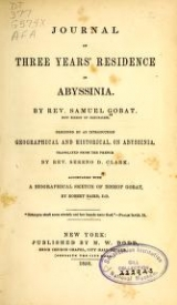 Cover of Journal of three years' residence in Abyssinia