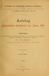 Cover of Katalog frühchristlicher Textilfunde des Jahres 1886