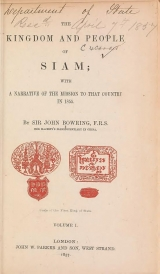 Cover of The kingdom and people of Siam v. I