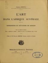 Cover of L'art dans l'Afrique australe