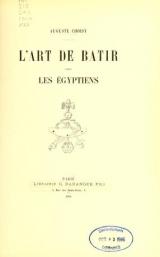 Cover of L'art de bâtir chez les Égyptiens