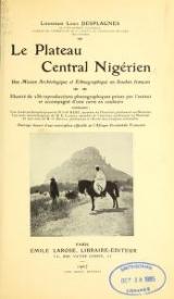 Cover of Le plateau central Nigérien