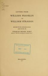 Cover of Letters from William Franklin to William Strahan