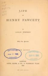Cover of Life of Henry Fawcett