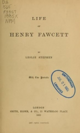 Cover of Life of Henry Fawcett