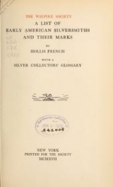Cover of A list of early American silversmiths and their marks