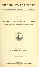 Cover of A list of the portraits and pieces of statuary in the Virginia State Library