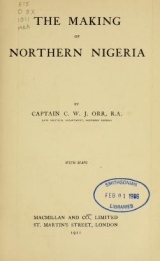 Cover of The making of Northern Nigeria