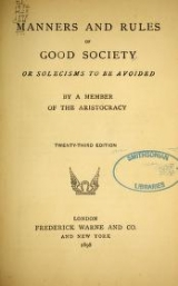 Cover of Manners and rules of good society