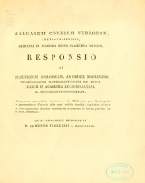 Cover of Margareti Cornelii Verloren, Rheno-Trajectini