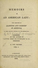 Cover of Memoirs of an American lady
