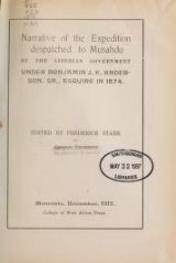 Cover of Narrative of the expedition despatched to Musahdu by the Liberian government under Benjamin J. K. Anderson, sr., in 1874