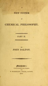 Cover of A new system of chemical philosophy