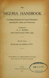 Cover of The Nigeria handbook containing statistical and general information respecting the colony and protectorate