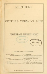"""Cover of """"Northern and Central Vermont Line percentage division book"""""""