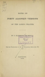 Cover of Notes on forty Algonkin versions of the Lord's prayer