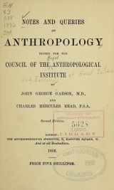 Cover of Notes and queries on anthropology
